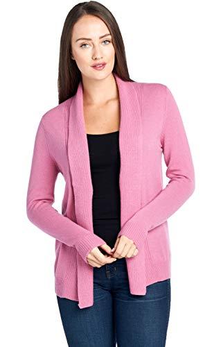 (Mariyaab Women's 100% Cashmere Soft Long Sleeve Front Drape Open Cardigan (JB1677, Cashmere SoftRose,)