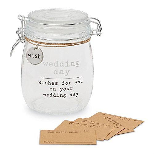 Mud Pie Wish Glass Set of 19 Wedding Sentiment Jar, One Size, -