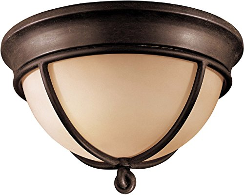 (Minka Lavery Flush Mount Ceiling Light 976-1-138, Aspen II Round Glass Fixture, 2 Light, 120 Watts, Bronze)