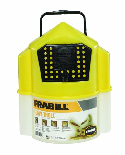 Frabill Flow Troll Bait Container, 6-Quart, Yellow/White, Outdoor Stuffs