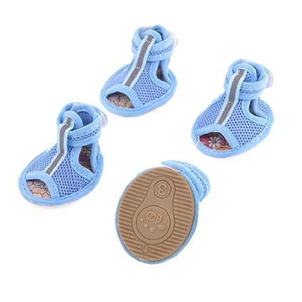 eDealMax Zapatos Suela de goma Azul Gorras de Sandalias de Yorkie del perro Chihuahua 2 Pares