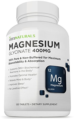 Magnesium Glycinate (400mg) from IntraNaturals - 120 Tablets 100% Pure & Non-Buffered for Maximum Bioavailability & Absorption - NO Laxative Effect - NON-GMO & Made in USA - IntraNaturals Lifetime Guarantee