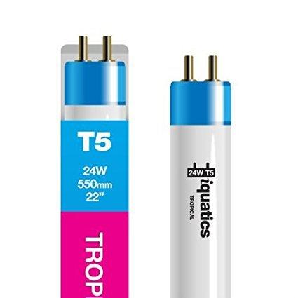 Standard 24w-22-550mm Colour enhancing//Growth 3 x iQuatics Aquarium 24w T5 Bulb Tropical//Pink Hue