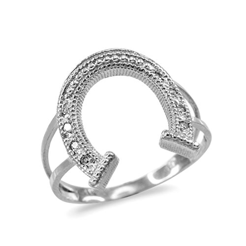Ladies Horseshoe Ring Diamond (Dainty 10k White Gold Lucky Horseshoe Diamond Pave Ladies Ring (Size 4.25))