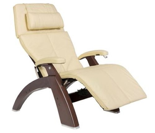 Human Touch PC-410 Perfect Chair Series 2 Dark Walnut Manual Recline Wood Base Zero-Gravity Recliner - Ivory Top-Grain Leather - Upgraded In-Home White Glove Inside Delivery and Setup