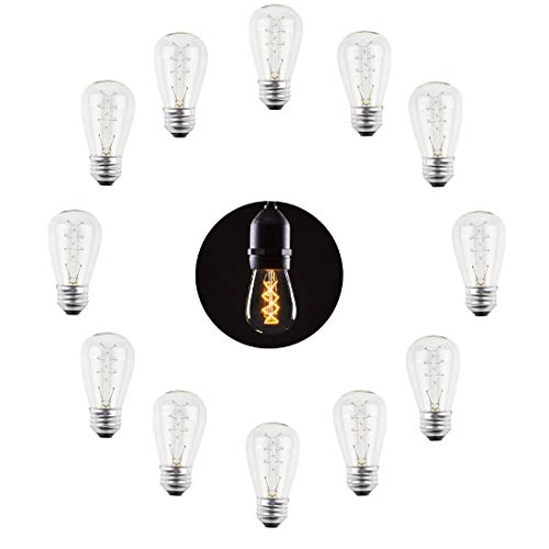12-Pack S14 11W Spiral Style Bulb, Clear Glass Amber Warm White Decorative Antique Vintage Edison Incandescent Bulbs for E26 Sockets, Waterproof Replacements Medium Base Lights for Indoor Outdoor (11w Spiral)