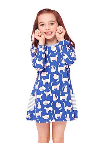 Gold treasure Little Girls Nightgown 100% Cotton Playwear Dress Long Sleeve Sleepwear with Cartoon Pink Cat for 2-7 Years