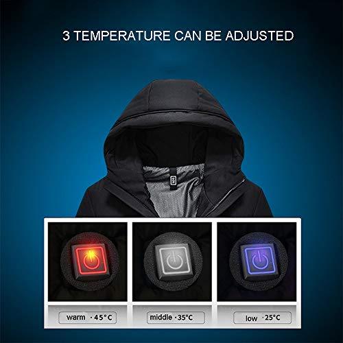 Temperatura Piumino caccia A Velluto Intelligente Uomo In moto Sci Da Regolabile Riscaldato Per Giacca Invernale Black All'aperto Uomo Hmjy qwp7xdq