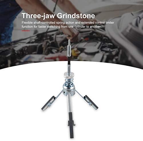 3ジョーアジャスタブル車のエンジンシリンダーホーンストーンフレキシブルシャフトボアホーニングテンションツール3ジョーボアホーニングツール-シルバー&ブラック