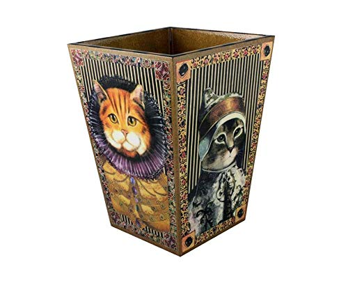 Annie Modica Housewares Royal Cat Designer Wastebasket ~ Handmade Folk Art Decoupage on Wood ~ Charming, Whimsical Home Decor Living Room, Bedroom, Bathroom, -