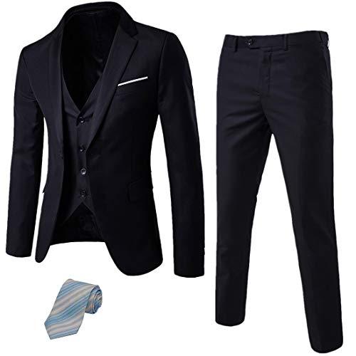 MY'S Men's 3 Piece Suit Blazer Slim Fit One Button Notch Lapel Dress Business Wedding Party Jacket Vest Pants & Tie Set Black