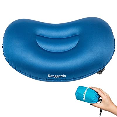 Kanggardo Ultralight Inflating Travel / Camping Pillows - Compressible, Compact, Inflatable, Comfortable, Ergonomic Pillow for Neck & Lumber Support and a Good Night Sleep while Camp, Backpacking