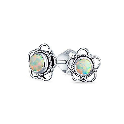 (Bali Style Tiny Flower White Created Opal Stone Stud Earrings For Women Oxidized 925 Sterling Silver October Birthstone)