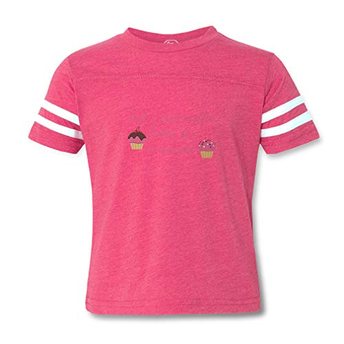 (Just A Stud Muffin Lookin for A Cupcake Contrasting Stripes Crewneck Toddler Boys-Girls Cotton/Polyester Football T-Shirt - Hot Pink, 5/6T)