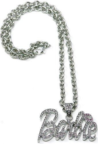 GWOOD Barbie Pendant 18 Inch Link Necklace Silver Color Pink Lips Small