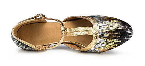 Round Dance Mid M Wedding US Sequins T Strap Samba TDA Modern Rumba Latin 8 Toe Gold Womens 5 LD027 Heel Shoes Zqx1AnSw4
