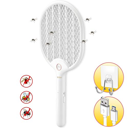 lunaoo Electric Fly Swatter,Biisam Rechargeable Fly Zapper with LED Light and 3-Layer Safety Mesh, Large Size Mosquito Swatter with Adhesive Wall Hook for Camping BBQ Indoor and Outdoor,Pearl White