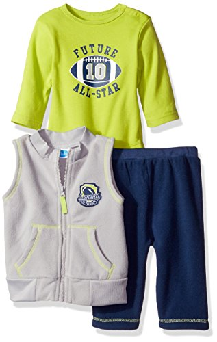 BON BEBE Baby Boys' 3 Piece Microfleece Vest and Pant Set with Side Snap Bodysuit, Future All/Star Gray, 12 (Infant Boys 3 Piece)