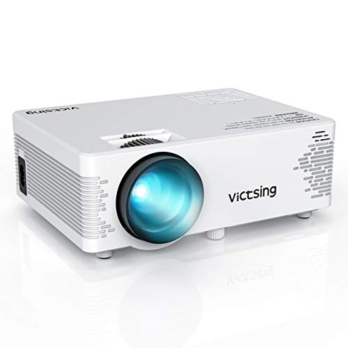 VicTsing Mini Projector with Tripod, 3500 Lux (50% Brighter) Wireless Projector, 1080P Supported Video Projector, HiFi Sound, Compatible with TV Stick, Laptop