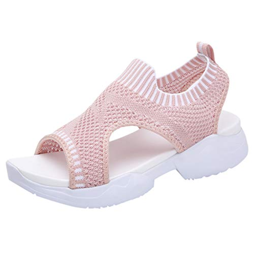 (Londony Women's Athletic Walking Shoes Casual Mesh-Comfortable Work Sneakers Lightweight Mesh Slip on Sneakers Pink)
