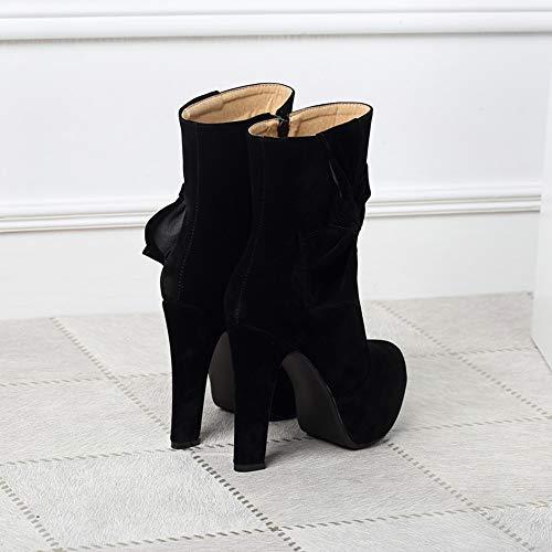 Mode Talon Sexy 12 Hautes Chaussures Épais Osyard Strass Femme Boots Bottine Noir Vintage Super Bottes Hiver Femmes Automne Haut En Cm 7nxBz6g