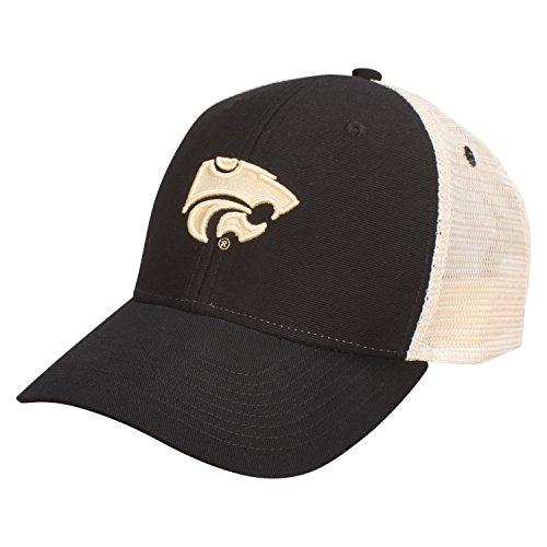 Ouray Sportswear NCAA Kansas State Wildcats Soft Mesh Sideline Cap, Adjustable Size, Black/Natural (Wildcats State Cap)