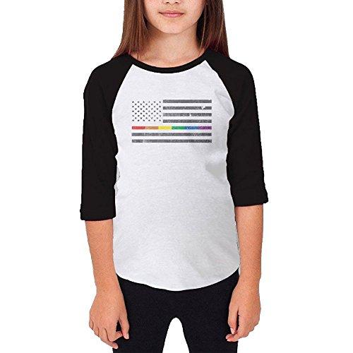 Jidfnjg American Pride Flag RD Kids 3/4 Sleeves Raglan T Shirts Child Youth Slim Fit Sports Uniforms]()