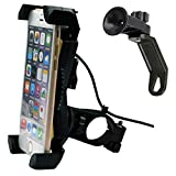 Motorcycle Phone Mount with USB Charger Port,DHYSTAR Electric Bike Motorcycle Cell phone Holder Stand Bracket Fits for iPhone/Samsung Galaxy Mobile Smartphones,GPS,Adjustable Clamp,on Handlebar/Mirror