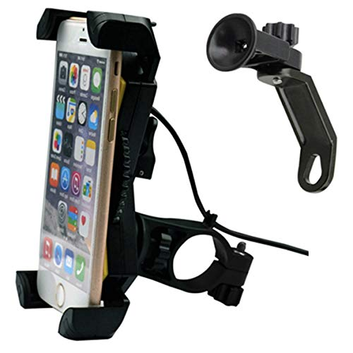 Motorcycle Phone Mount with USB Charger Port,DHYSTAR Electric Bike Motorcycle Cell phone Holder Stand Bracket Fits for iPhone/Samsung Galaxy Mobile Smartphones,GPS,Adjustable Clamp,on Handlebar/Mirror by DHYSTAR
