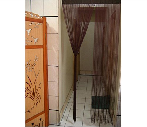 Rustic Doors Solid Wood - 100 cm x 200 cm Modern String Solid Door Window Curtain Divider Room Valances Beautiful Curtain 1 Pcs (Coffee)