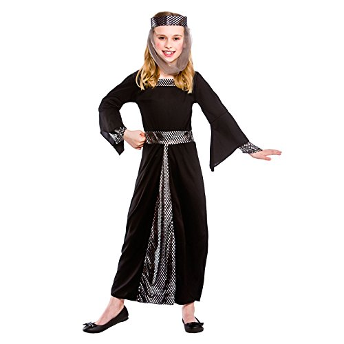 Girls Medieval Damsel Fancy Dress Up Party Costume Halloween Child Outfit Black