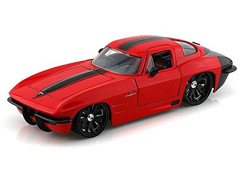 1963 Chevy Corvette Sting Ray 1/24 Red w/ Black Rims - Jada Toys Diecast - 63 Corvette Stingray