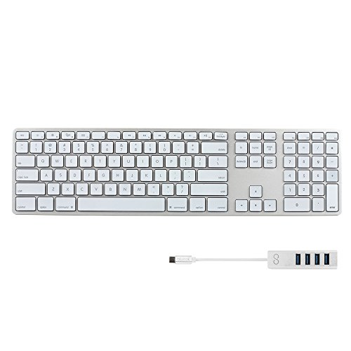 Matias FK318LS Backlit RGB Wired Aluminum Keyboard for Mac with US Layout (Silver) BUNDLED WITH Blucoil Mini USB C Hub with 4 USB Ports, Fast Charging Data Transfer Cable by blucoil