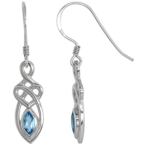 Sterling Silver Celtic Motherhood Knot Earrings Gemstone Dangling Fishhook Flawless Finish 1 1 4 inch