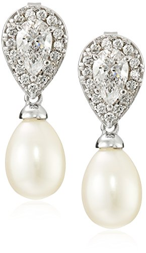 Sterling Silver Freshwater-Cultured Pearl and Swarovski Zirconia Earrings (Earrings Pear Twist Shape)