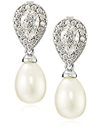 Sterling Silver Freshwater-Cultured Pearl and Swarovski Zirconia Earrings