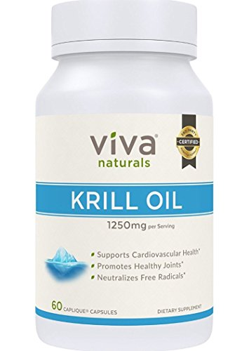 Viva Labs Krill Oil (Formerly Everest Nutrition): 100% Pure Cold Pressed Antarctic Krill Oil - Highest Levels of Omega-3s in the Industry, 1250mg/serving, 60 Capliques (2 Bottles (60 Capsules Each))