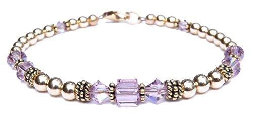 - DAMALI 14k Gold Fill & Antiqued Vermeil Beaded Bracelet, Crystal Bracelet, Handmade Alexandrite Swarovski Crystal June Birthstone Bracelet