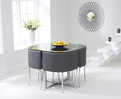 Oak Furniture House Oxford 100cm Glass Dining Table and High Back Charcoal Stools Set