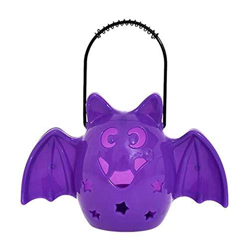 (YARNCORP-Seasonal Décor-Portable LED Sound Bat Storage Bucket DIY Halloween Children Candy Pail Holder Barrel Party Decorations Halloween Supplies (Style)
