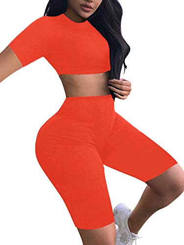 BEAGIMEG Women's Sexy 2 Piece Outfit Crop Top Bodycon High Waist Shorts - Skirt Outfit 2 Piece