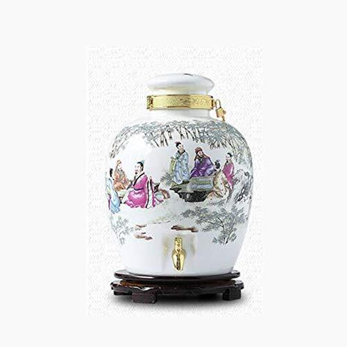 (Porcelain Decanter, Storage Utensils,porcelain Wine Bottle/sealed Wine Bottle+Switch Valve And Bracket Perfect For Wedding And Housewarming Gifts-5L (Color : F))