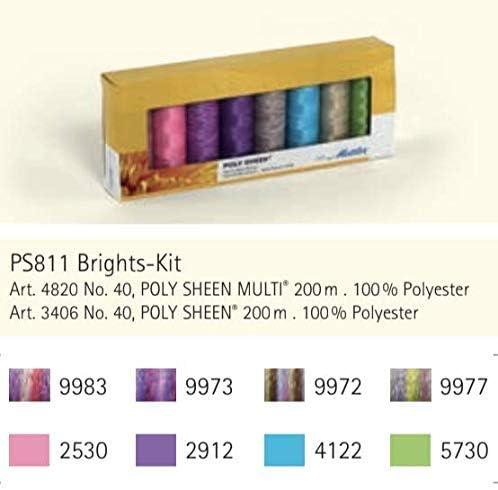 Mettler polysheen Assorties Broderie néons Thread Pack 8 x 200 m bobines
