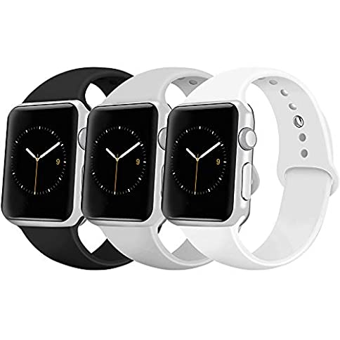 - 41bIvmItnYL - iGK Sport Band Compatible with Apple Watch 38mm 40mm 42mm 44mm, Soft Silicone Sport Strap Replacement Bands for iWatch Apple Watch Series 4, Series 3, Series 2, Series 1