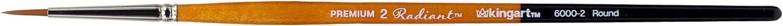 Black//Silver//Orange KINGART 6000-5 TAKLON Round Paint Brush 5