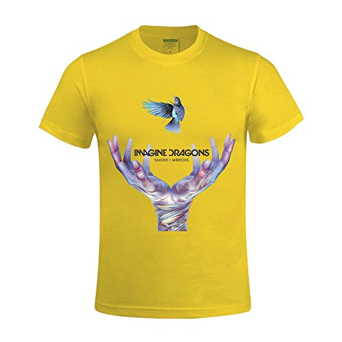 Overbearing Smoke Mirrors Imagine Dragons Custom Men's Crew Neck Tee shirts Yellow - Blood Smoke Mirrors