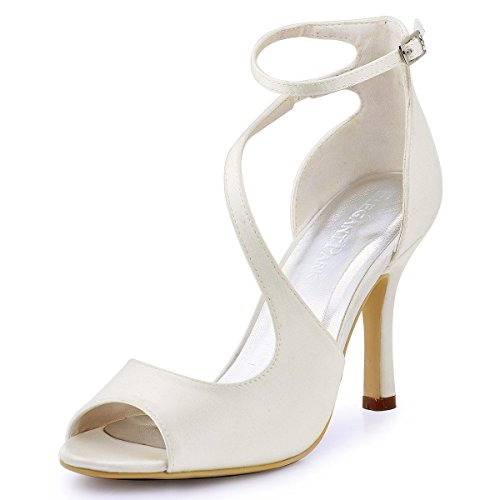 ElegantPark HP1565 Women's Peep Toe High Heels Ankle Strap Buckle Satin Wedding Evening Dress Sandals Ivory US 11