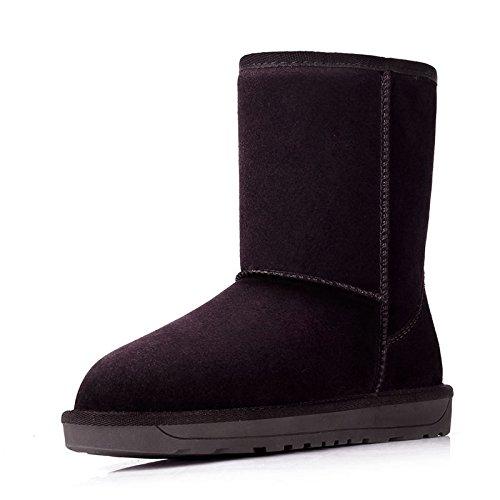 HOESCZS Stiefel Martin Classic Leather Snow Stiefel Female Verdickung In Der Tube Um Warme Damen Baumwollschuhe Zu Halten