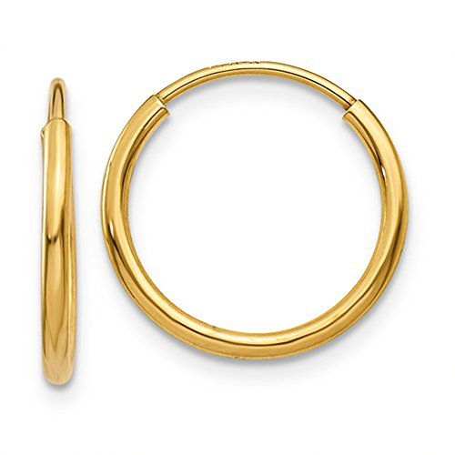 Small 14k Yellow Gold Continuous Endless Hoop Earrings, 1.25mm Tube (14mm)