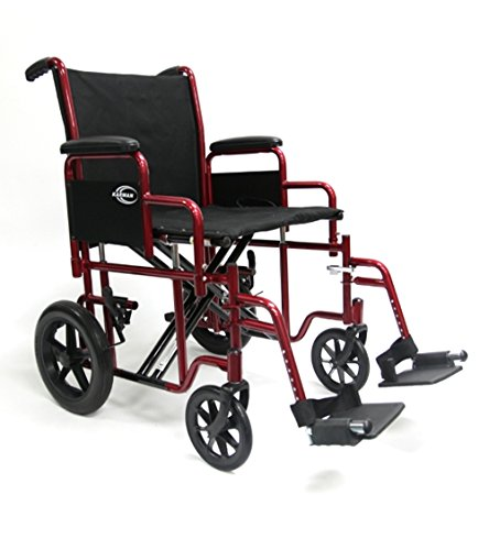 Karman Bariatric Transport Chair with Removable Armrest Seat, Burgundy, 20